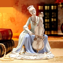 Porcelain Retro Lady Cello Player Figurine Ceramic Music Character Statuette Artwork Gift Craft Ornament Accessories Furnishing