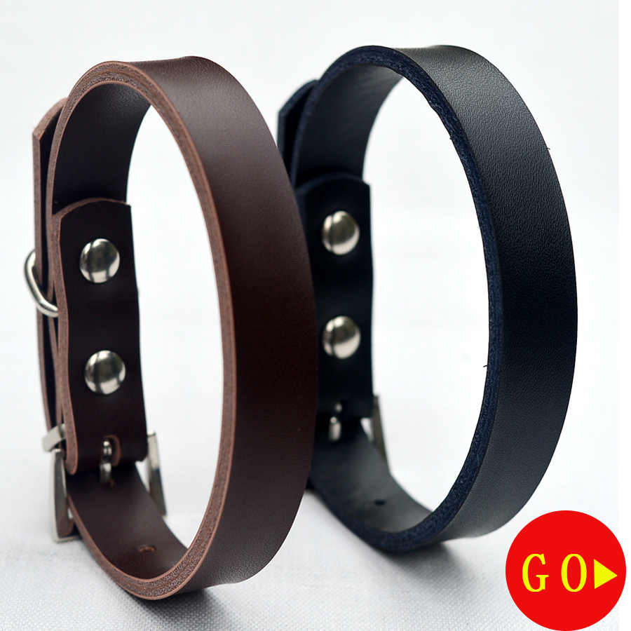 10pcs/lot Real Leather Dog Collar Durable Zinc Buckle Collar For Dogs Black Brown Colors Size S M Dog Health Supplies
