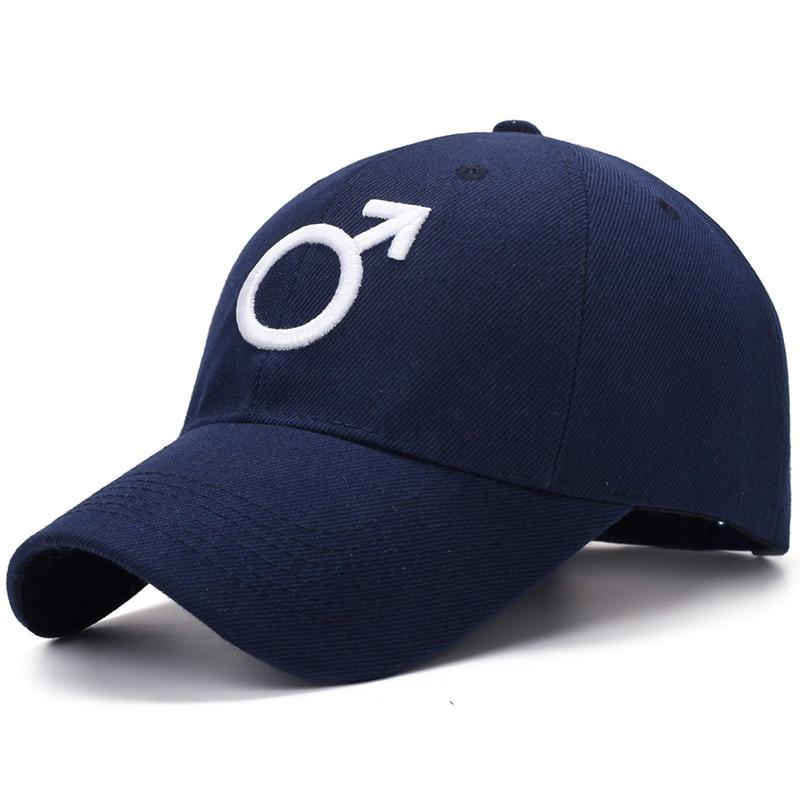 Embroidered Male Symbol Baseball Cap - Blue
