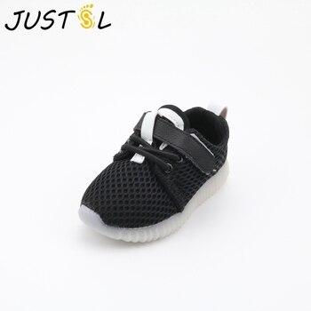 d992b12ff JUSTSL/2017 г. летний детский светодиодный Спортивный обувь для малышей  Нескользящая дышащая повседневная детская обувь для мальчиков и девочек.