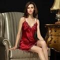 100% Natural Seda Nightgowns Nightdress Feminino Estilingue Lingerie Sexy Com Decote Em V Sem Mangas Verão Mulheres Sleepwear D3335