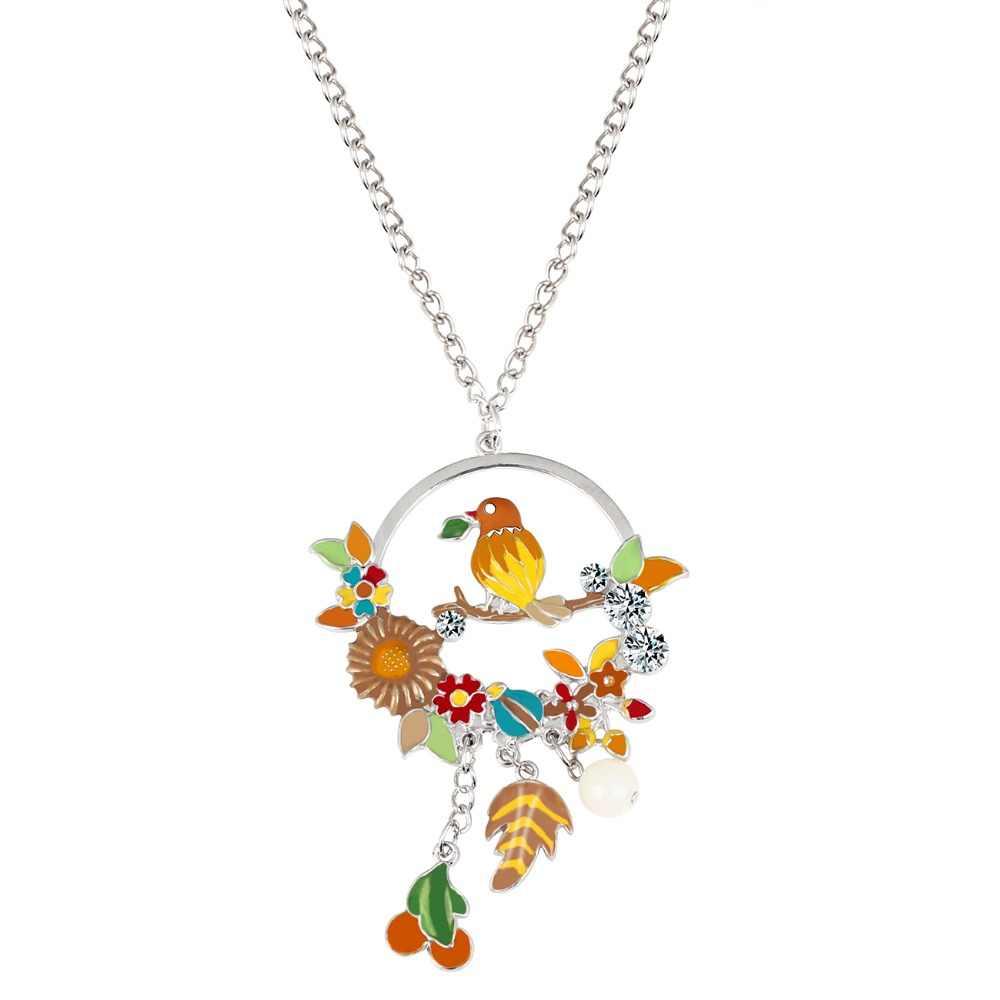 Bonsny emalia stop Rhinestone ptak oddział kwiat owoce naszyjnik wisiorek kwiatowy kreskówka biżuteria dla kobiet dziewczyna panie nastolatek prezent
