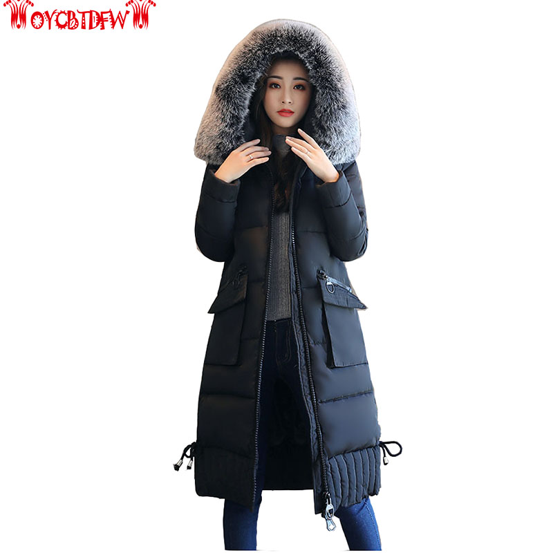 Winter new women cotton jacket mid-long section pure color Slim thickening hooded big fur collar slim women cotton coat ly0138