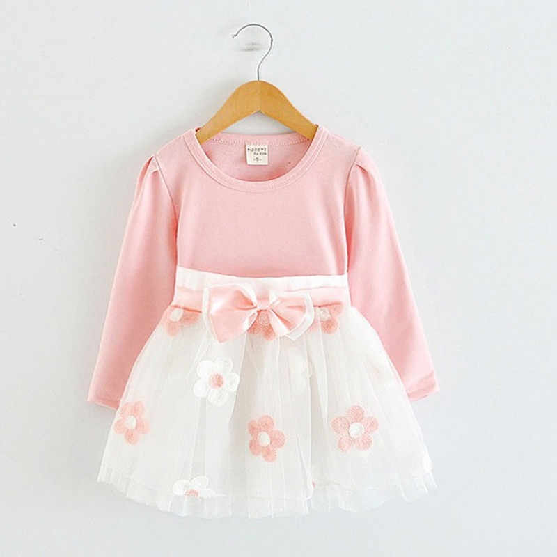 7012e541b Manga larga Rosa flor vestido Floral del bebé bautismo niños ropa bebé 1st  cumpleaños Tutu vestidos