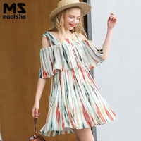 Mooishe Summer Plus Size Striped Pleated Dress Short Sleeve O Neck Ruffles Elegant A Line Ladies