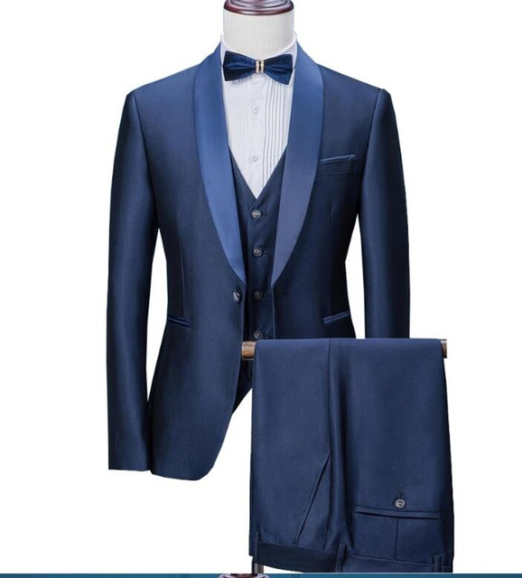 295ae5221d46f9 2019 New Navy Blue Mens Suits 3 Pieces Formal Business Blazer Tuxedos Shawl  Lapel For Wedding Groom man ( Jacket+Vest+Pants)