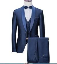 2020 חדש כחול כהה Mens חליפות 3 חתיכות פורמליות עסקים בלייזר טוקסידו צעיף דש לחתונה חתן גבר (Jacket + אפוד + מכנסיים)