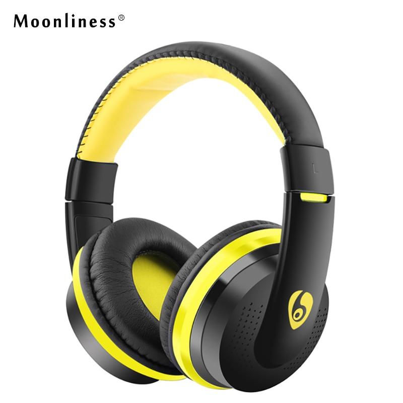 Moonliness Stereo HIFI Wireless Earphones MX666 Bluetooth Headphone Gaming Headset with Microphone TF FM Radio for Sony big bluetooth wireless headphone earphones