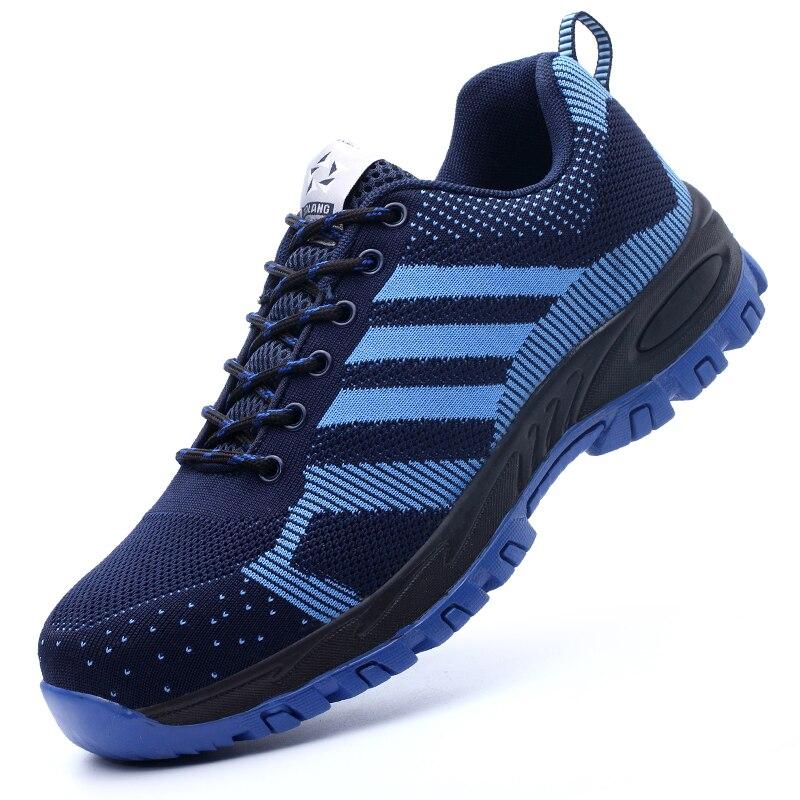 Nouveau mode hommes grande taille respirant en acier orteil casquettes travail chaussures de sécurité anti-percer travailleur baskets outillage sécurité bottes basses mâle