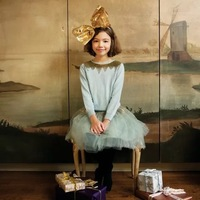 2018 summer dres little girl wedding dress vetement femme dresses for kids girls lace high quality dress rabbit blue sweaters