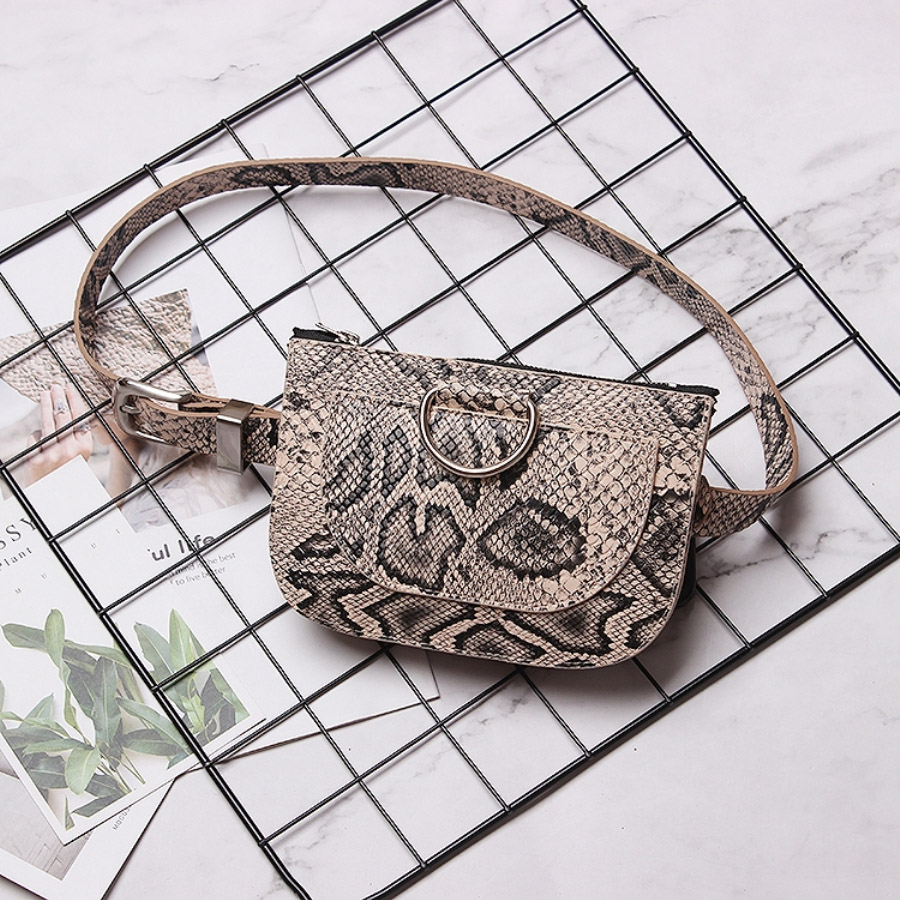 Snake Leather Waist Belt Bags Women Slim Belt Bag Ladies Round Pu Leather Fanny Packs Female Chest Pack Crossbody Phone Bum Bag
