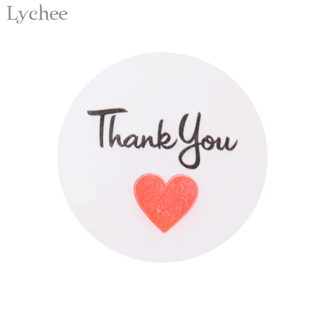 Lychee 105pcs round transparent thank you sealing sticker red heart scrapbooking decoration