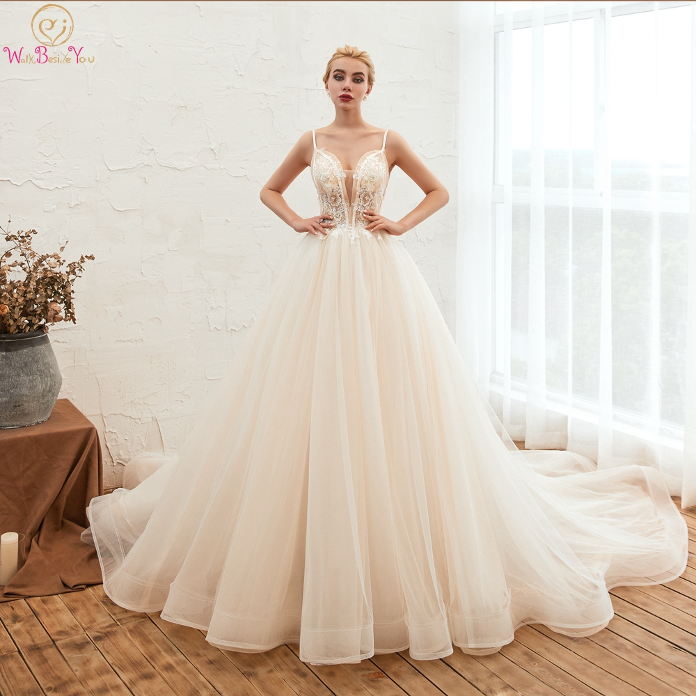 Elegant Beach Wedding Dresses 2019 Spaghetti Strap Sweetheart Tulle Lace Applique A Line Chapel Train Bride Gown Walk Beside You