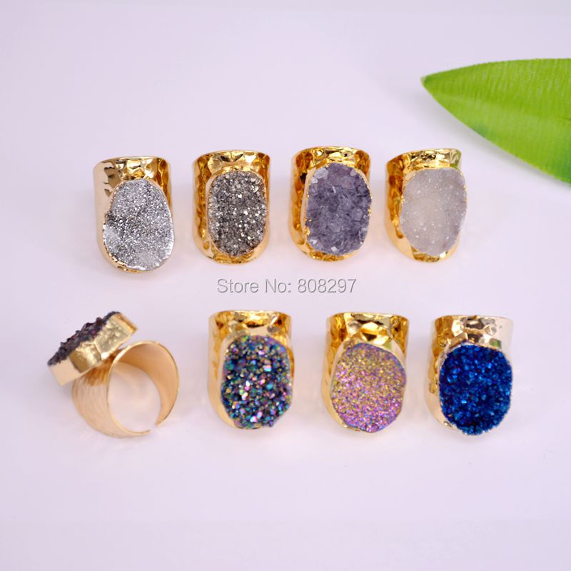 5PCS Mixed Color Titanium Ring Freeform Drusy Gems stone Geode Cuff Ring