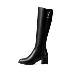 Image 4 - Salu botas de inverno botas femininas na altura do joelho botas quentes nova moda couro genuíno sapatos femininos dedo do pé redondo preto senhoras tamanho 41 42 43