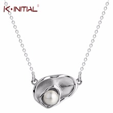 Kinitial 925 Sterling Silver Flowers Shell Simulated Pearl Necklaces & Pendants Pea Necklace for Women Charm Bohemia Jewelry