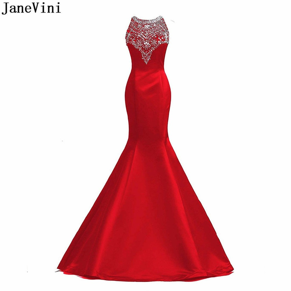 JaneVini Luxurious Red Mermaid Long   Bridesmaid     Dresses   O Neck Heavy Beading Illusion Back Satin Elegant Arabic Prom Party Gowns