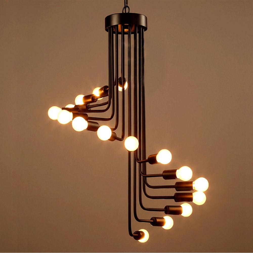 Eusolis Loft Pendant Lights Deco Lamparas Colgantes Lustres De Sala Kroonluchter Creatieve Wenteltrap Kroonluchter Verlichting|Pendant Lights| |  -