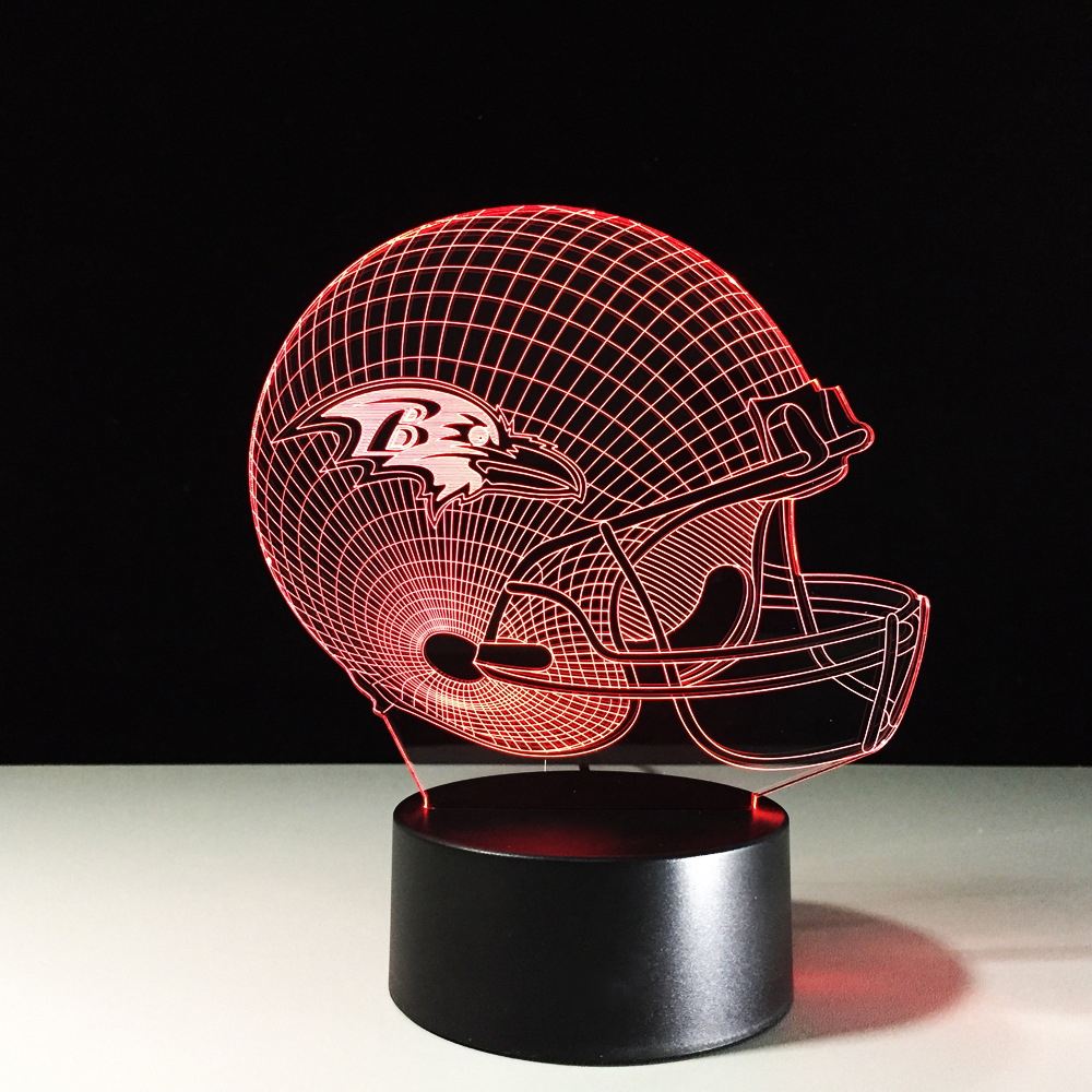 3D Football Helmet Table Lamp LED Team Rugby Cap Night Lights Multi-Colored Luminaria Lampara Bedside Light Fixture Xmas Gifts