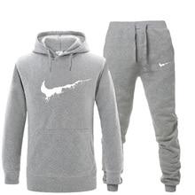 33bf486a5 2018 chándal de los hombres marca traje de ropa deportiva de invierno  mantener caliente pantalones de