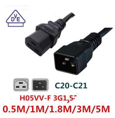 free ship , IEC32 computer cable Power Cord Server PDU/UPS Power Cable C20 to C21 Male 16A/250V power supply cord 3X1.5mm