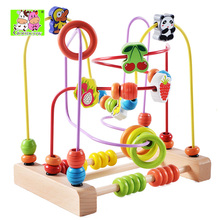 Free Shipping Baby Toys Colorful Bead Maze Child Educational Toy Wooden Animal Fruit Blocks Building Blocks