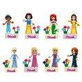 8 unids de Cuento de Hadas Princesa de La Nieve Chica Amigos de Edificio Modelo figuras de Muñecas Ladrillos Bloques Regalos Del Juguete Del Cabrito