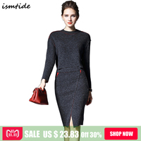 Ladies Casual Knitted Suit 2018 New Spring Fashion Women 2 Piece Set Round Neck Sweater Tops Sheath Split Dress Knit 2 Piece Set