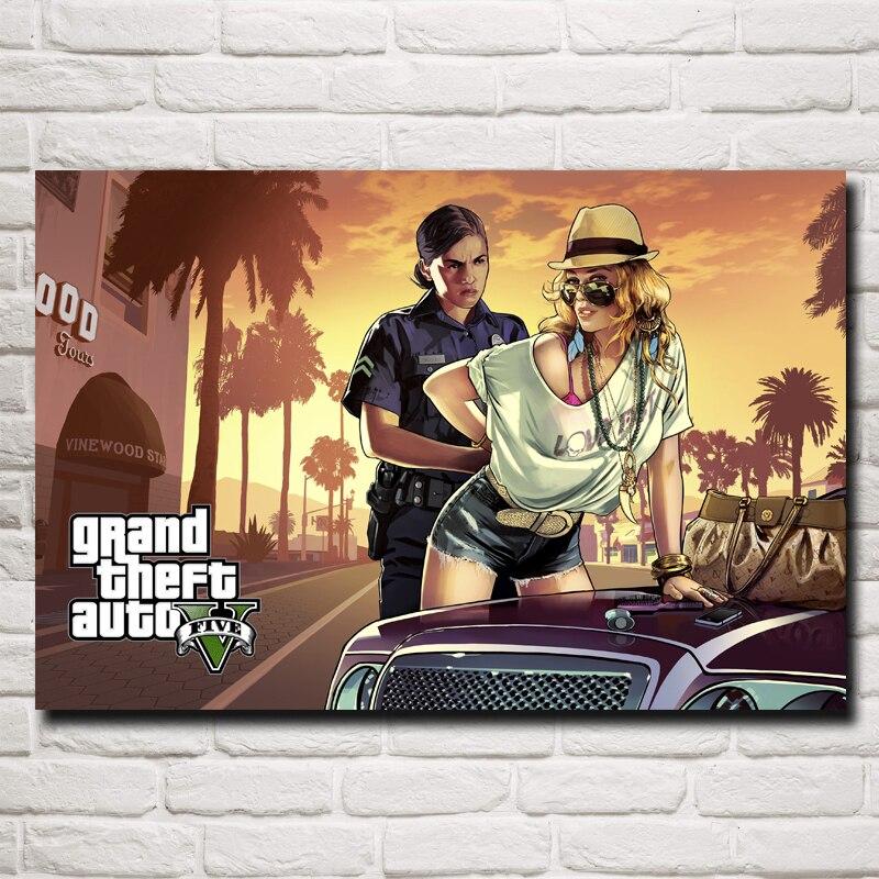 FOOCAME Grand Theft Auto V Arte Della Seta Poster Stampa GTA 5 gioco Immagini Per Soggiorno Decorazione Della Casa 12x18 20x30 32x48 Pollici