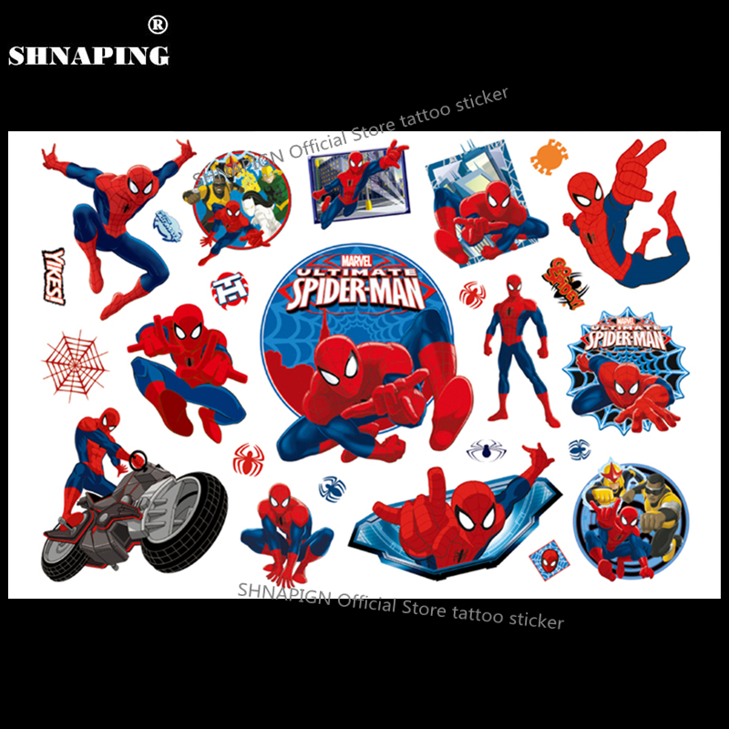 SHNAPIGN Amazing Spidey Child Boy Temporary Tattoo Body Art Flash Tattoo Stickers 17*10cm Waterproof Fake Styling Wall Sticker