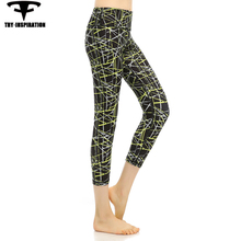 Running Tights Women's Printed Yoga 3/4 Pants Fitness Elasticity Breathable Quick Dry Training Sports Jogging Leggings