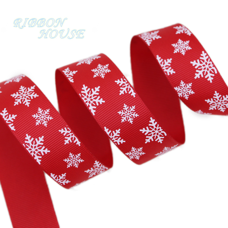 (5 ярдов/партия) 1 «(25 мм) красный печатных белый Снежинка Grosgrain ленты Подарочные рождественские ленты