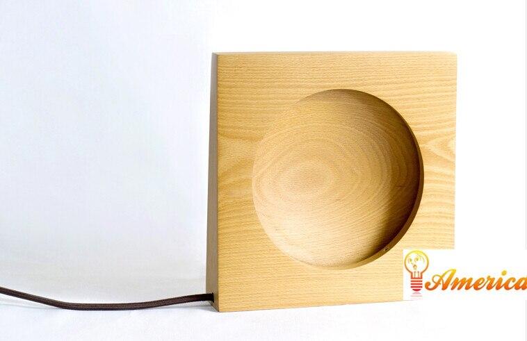 Rond la lune lampe de table décorative maison créative minimaliste chambre lampe de chevet veilleuses à LED, matériau: hêtre, AC110-240V.