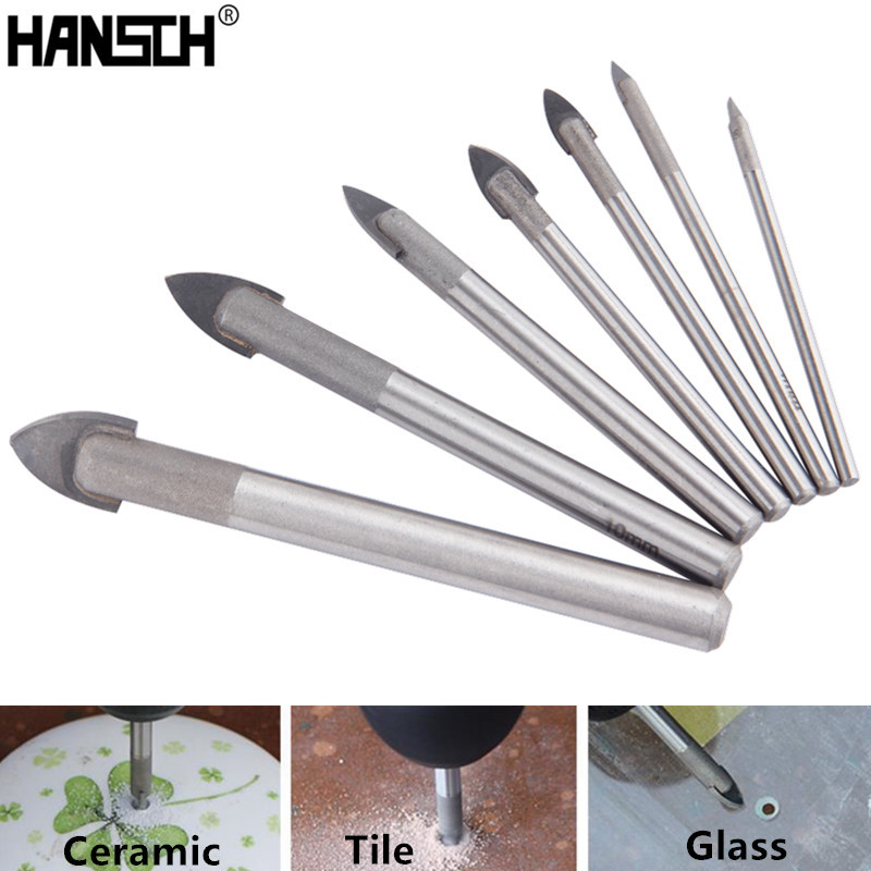 HANSCH Glass Tile Drill Bits Spear Head Ceramic Tile Drill Bits Set 7pcs 3/4/5/6/8/10/12mm Drill Bit Power Tools 6pcs titanium coated glass drill bits set 4 5 6 8 10 12mm with hex shank for ceramic tile marble mirror