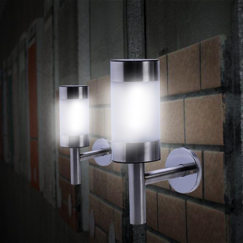 2pcs Solar Light LED Stainless Steel Outdoor Lighting Fence Lamp Solar Garden Lights Wall Lamp Solar Fence Light