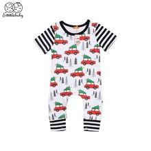 Summer New Cute Newborn Infant Baby Girls Boys Short Sleeve Car Print Romper Jum