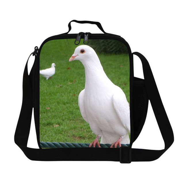 Dispalang shoulder insulated lunch bag for kids school peace dove parrot pattern food storage picnic bag bird print lunchbox