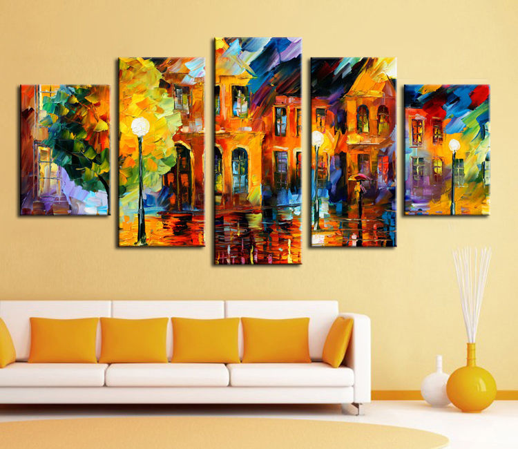 hand painted stretched framed oil wall art European street villa ...