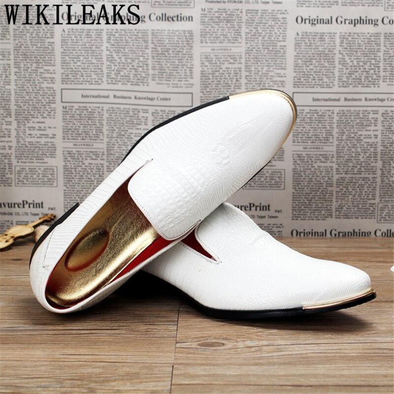Preto Marca Crocodilo Couro De Mens amarelo vermelho Vinho Italiana Oxfords Formais Escritório Loafers branco Homens 2019 Da Grife Dos Sapatos Vestir Luxo Casamento OnwUPqqC