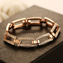CNANIYA high fashion bangle geometric square rose gold color bracelets with crystals summer jewelry women cuff bracelet hand