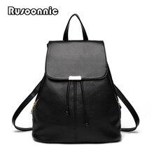 Rusoonnic рюкзак женщины школьные сумки Высокое качество из искусственной кожи Bagpack черный рюкзаки Mochila Feminina Рюкзак Женский школьная сумка