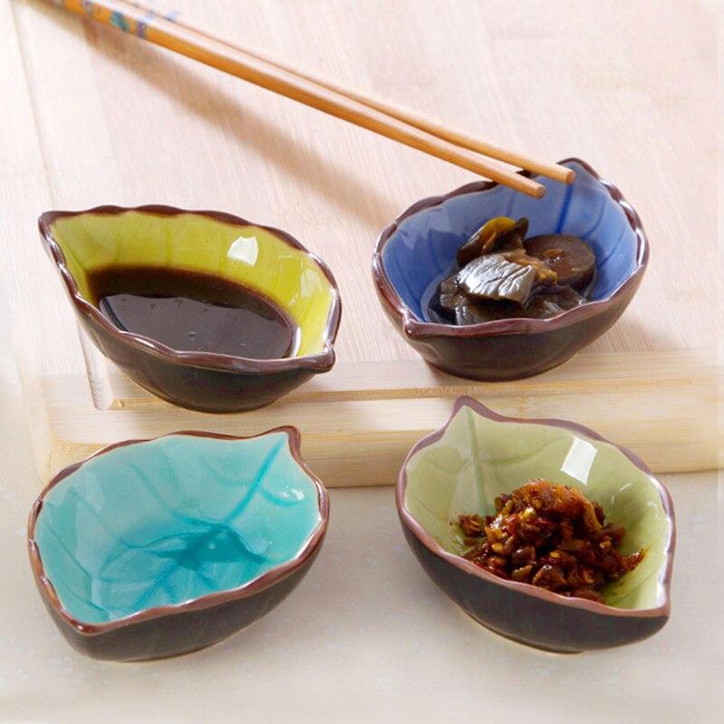 Heißer Verkauf Haushalts Japan Stil Kreative Blattförmige Knistern Glasur  Gericht Snacks Desserts Salat Essig Sauce Keramik