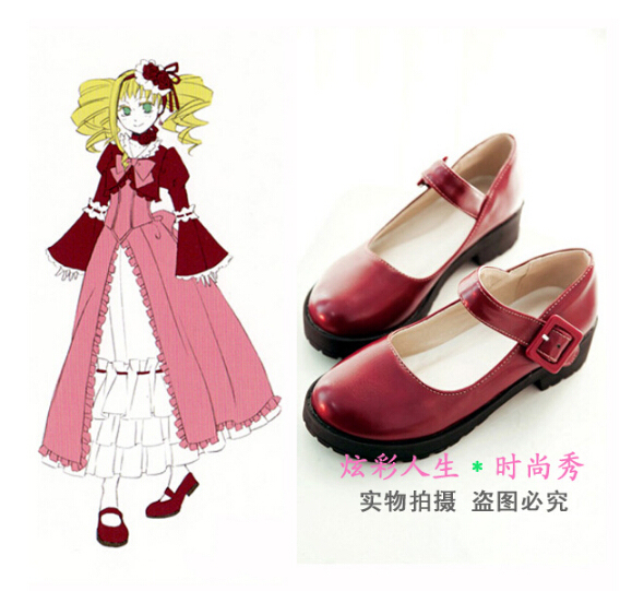 Negro Mayordomo Elizabeth Midford Cosplay princesa lolita punk party school uniform Costume botas Zapatos rojos