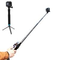Aluminum Extendable Pole Handheld Selfie Stick Monopod + Tripod Cell Phone Clip Mount Stand for GoPro Hero 7 6 5 4 3 SJCAM Yi 4K