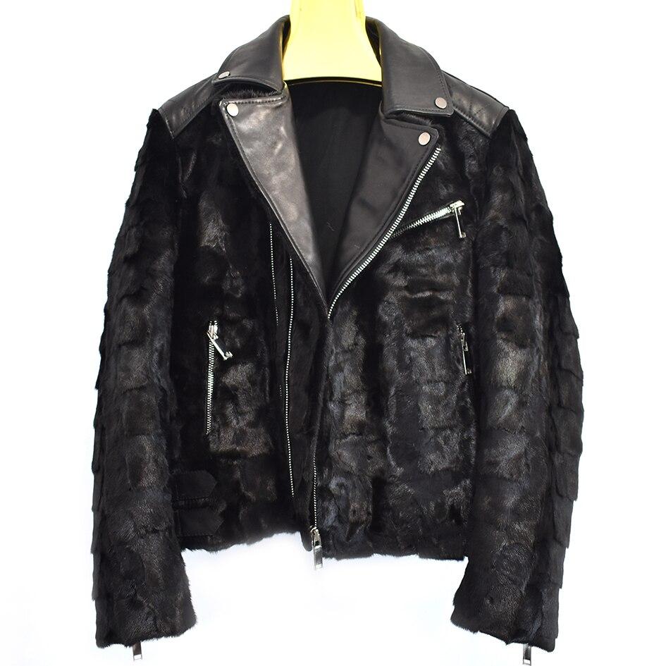 2018new mens motorcycle mink fur sheepskin retro thin coat motorcycle clothing motorcycle clothing leather jacket jacket