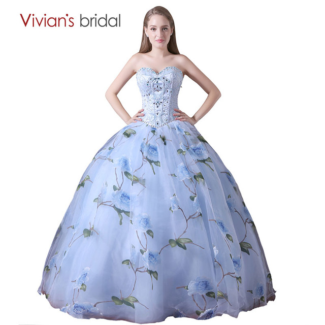 Floral Print Evening Dress Ball Gown Off Shoulder Sweetheart ...