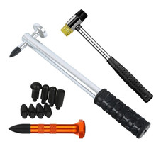 PDR Dent Ding Hammer Tap Down Kits Paintless Repair Aluminum Hail with 8 pcs POM heads & Knock