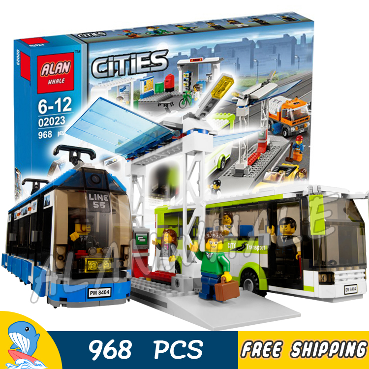 968pcs City Public Transport Station Bus Streetcar Passengers 02023 Model Building Blocks Child Bricks Compatible With LegoING
