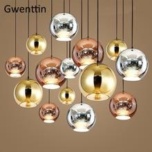 Милана современная стеклянная подвеска огни золото медь космический шар Зеркало Led Подвесная лампа для гостиной дома Лофт промышленного искусства Декор