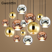 Milan Modern Glass Pendant Lights Tom Dixon Copper Space Ball Mirror Led Hanging Lamp for Living Room Home Loft Industrial Decor